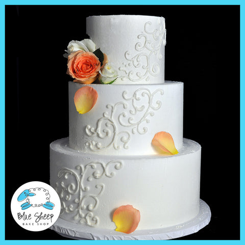 Buttercream Wedding Cake With Filigree and Roses
