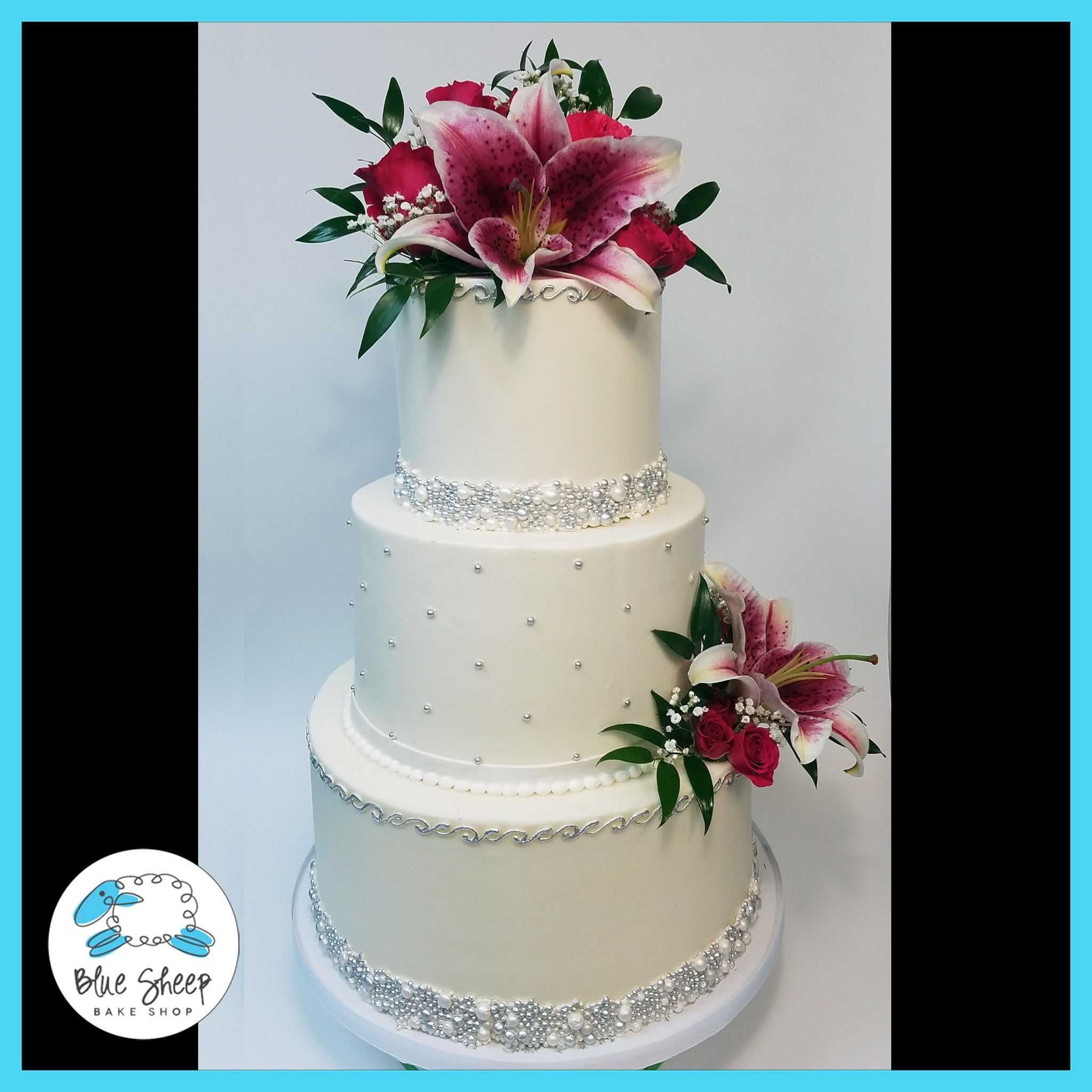Pearls and Fresh Bloom Tiger Lilies Buttercream Wedding Cake