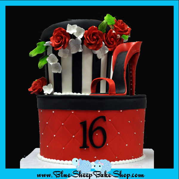Peachy Sweet 16 Red Black And White Hatbox Birthday Cake Blue Sheep Funny Birthday Cards Online Alyptdamsfinfo