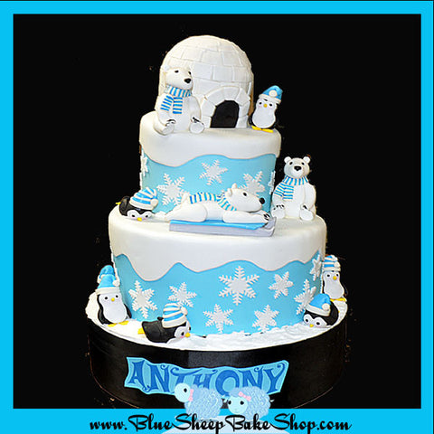 Snow Fun 1st Birthday Cake