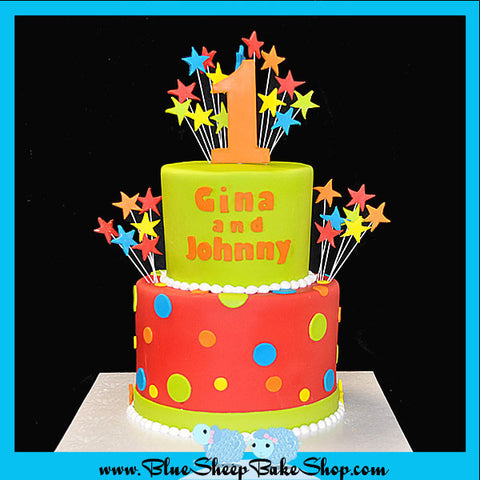 Red and Lime 1st Birthday Cake