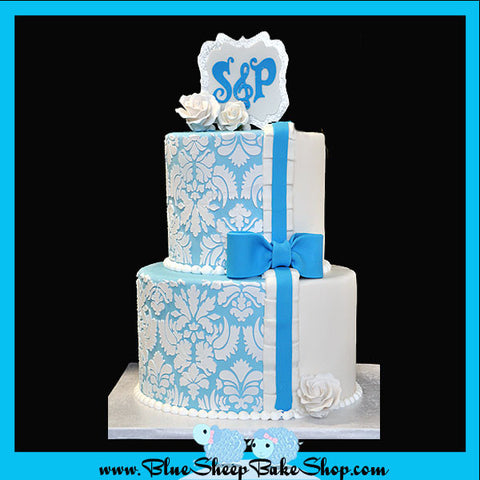 Engagement Cake - Blue and White Damask