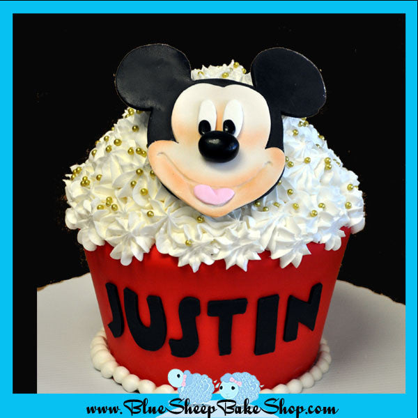 Cool Mickey Mouse Giant Cupcake Birthday Cake Blue Sheep Bake Shop Personalised Birthday Cards Bromeletsinfo