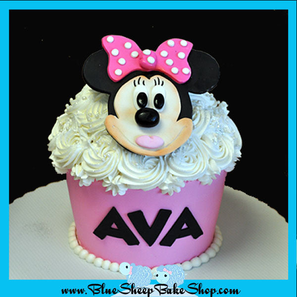 Remarkable Minnie Mouse Giant Cupcake Birthday Cake Blue Sheep Bake Shop Funny Birthday Cards Online Elaedamsfinfo