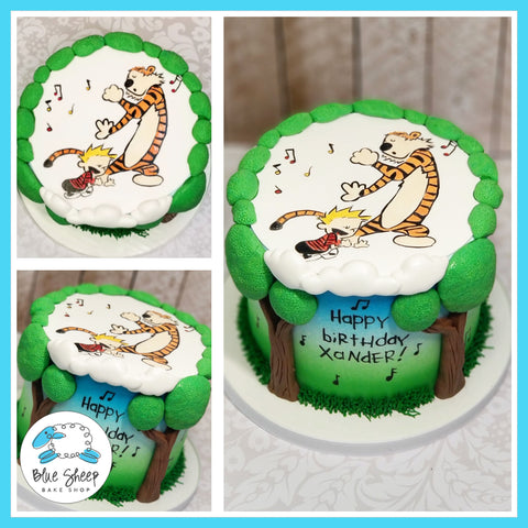 Handpainted Calvin and Hobbes Birthday Cake - Blue Sheep Bake Shop
