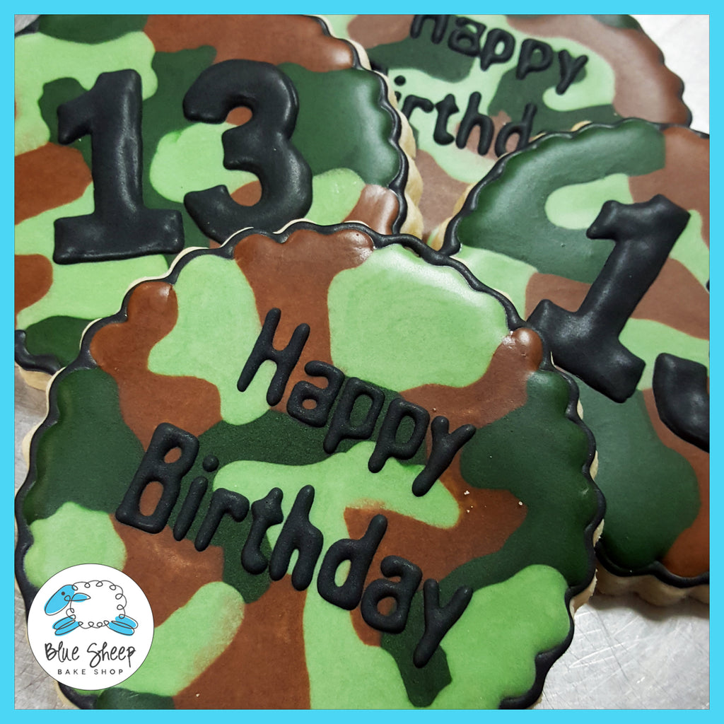 camo army call of duty decorated cookie favors nj