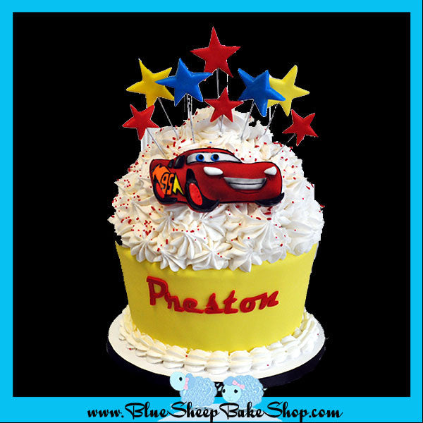 Lightning McQueen Giant Birthday Cupcake Blue Sheep Bake Shop