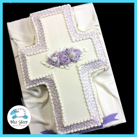 lavender rose cross confirmation cake nj