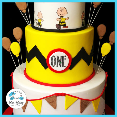 Charlie Brown and Snoopy 1st Birthday Cake NJ Blue Sheep Bake Shop