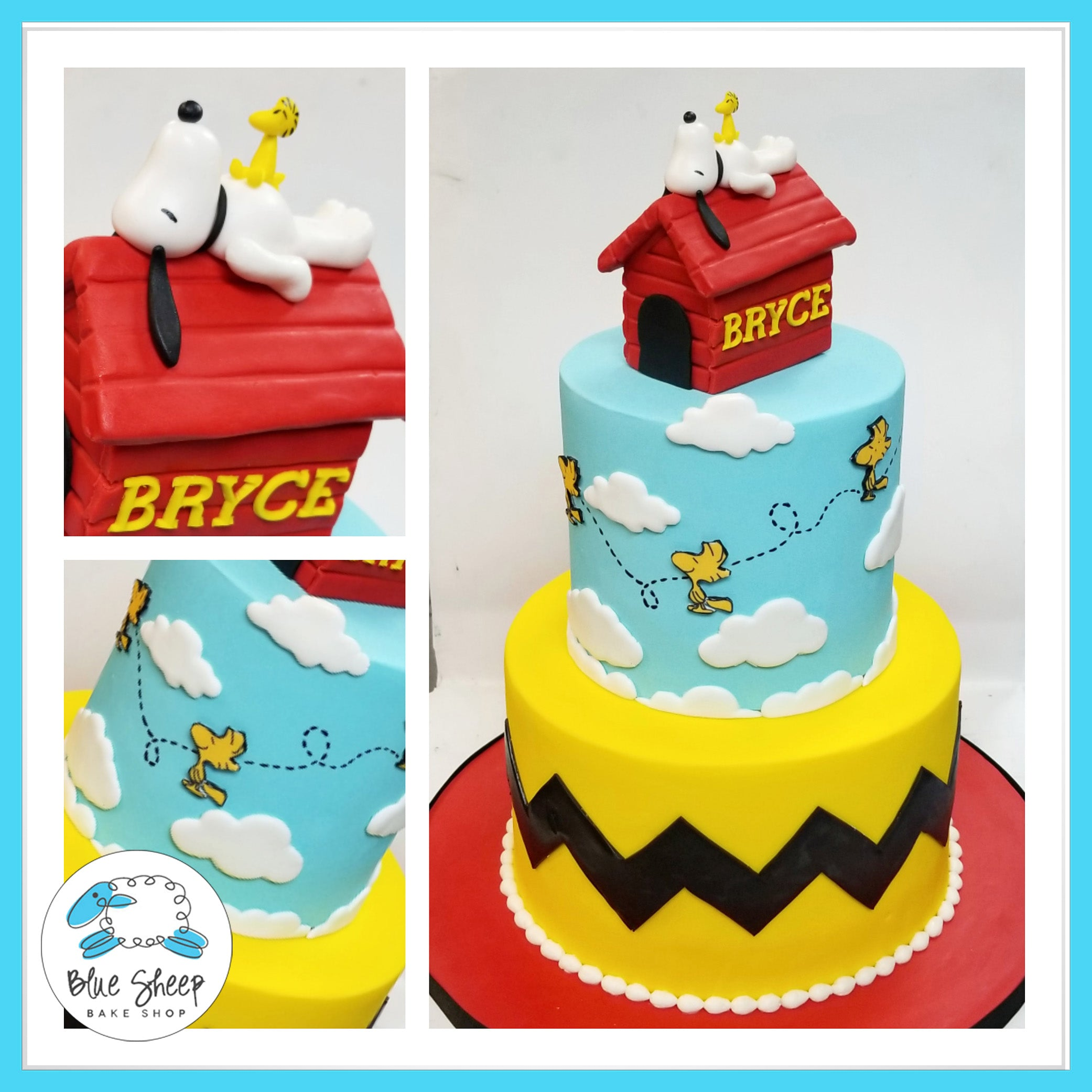 Charlie Brown And Snoopy Birthday Cake Blue Sheep Bake Shop