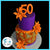 purple and orange cheetah print cake with tiger lillies