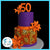 50th birthday cake with cheetah print and tiger lillies