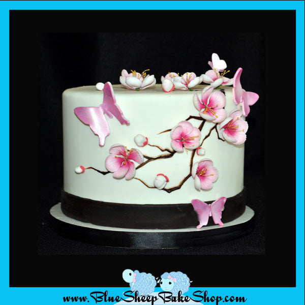 Custom Bridal Shower Cake Cherry Blossoms And Butterflies