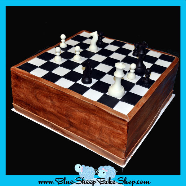 Stupendous Chess Board Sculpted Birthday Cake Blue Sheep Bake Shop Funny Birthday Cards Online Overcheapnameinfo