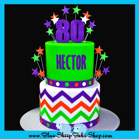 80the birthday cake horizontal chevron stripes purple orange lime cake custom cakes nj