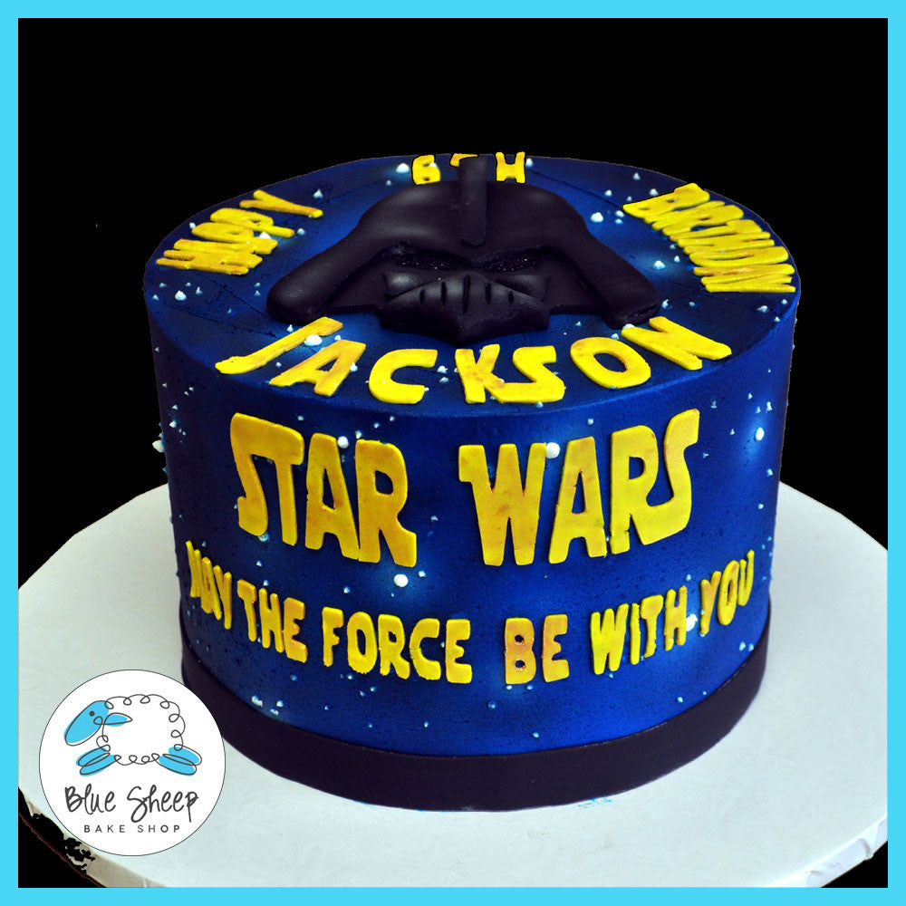 Sensational Star Wars Birthday Cake Blue Sheep Bake Shop Funny Birthday Cards Online Eattedamsfinfo