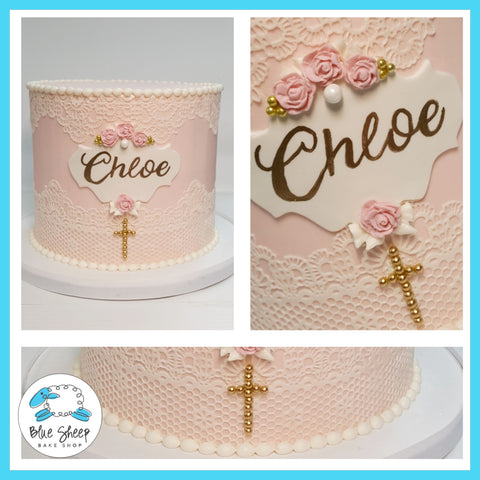 buttercream lace communion cake nj