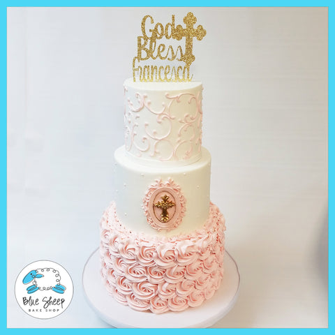 pink and gold christening cake nj