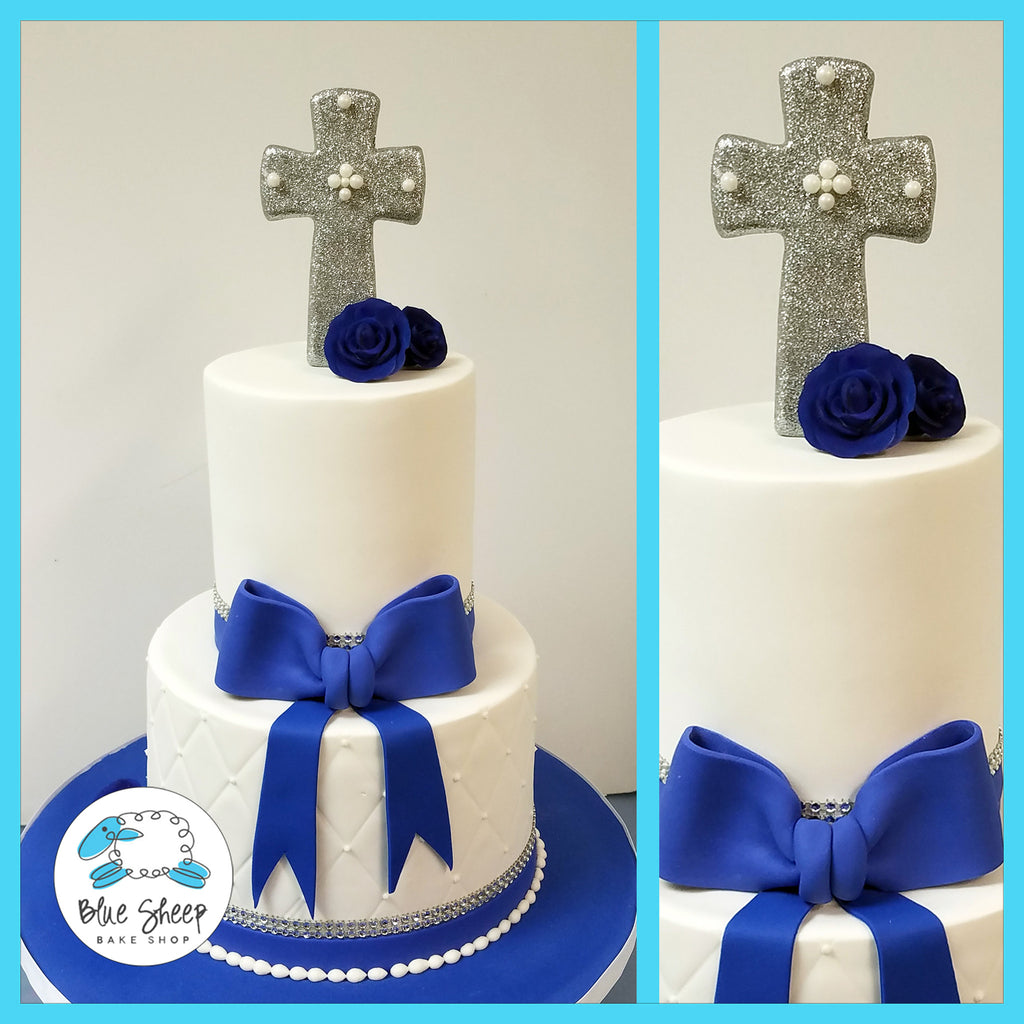 Sparkly blue and white communion cake nj
