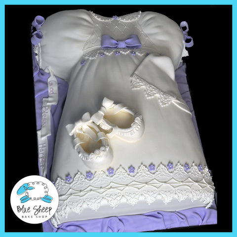 christening or baptism dress cake