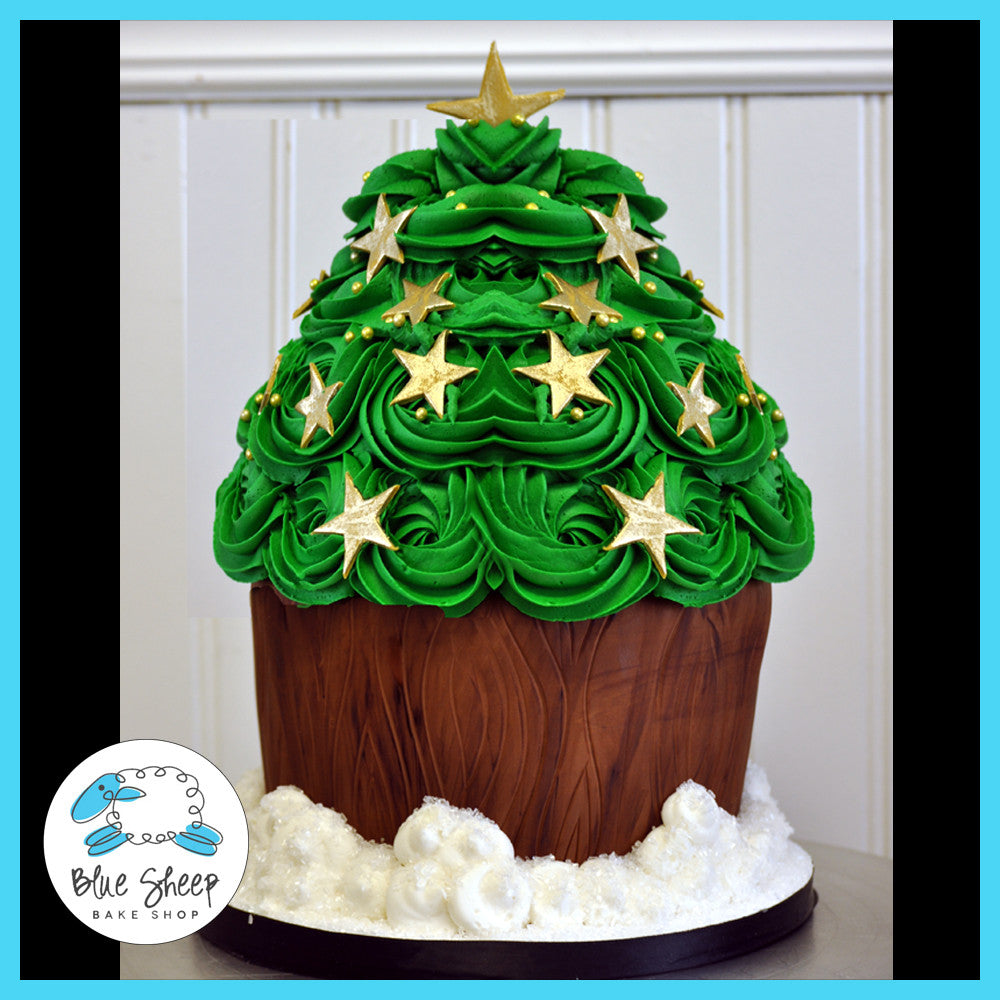 Christmas Tree Giant Cupcake Cake Blue Sheep Bake Shop