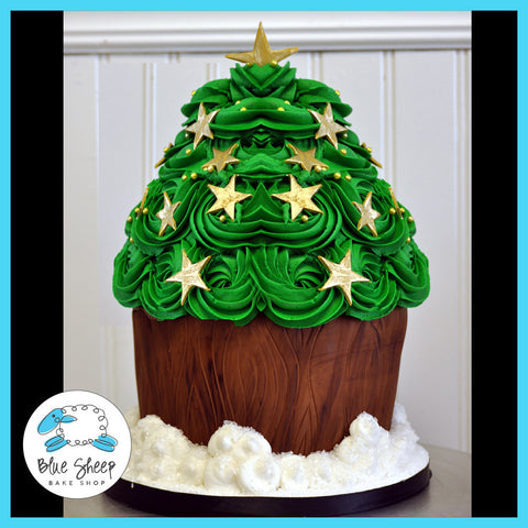 christmas tree cake made from giant cupcake cake j