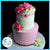 Pink Chrysanthemum Buttercream Birthday Cake