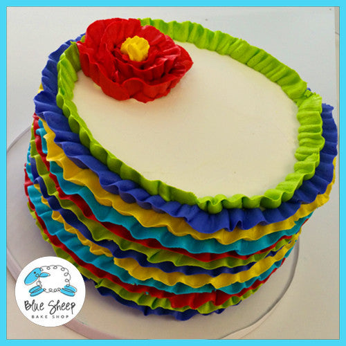 Fiesta Buttercream Ruffle Cinco De Mayo Cake Blue Sheep Bake Shop