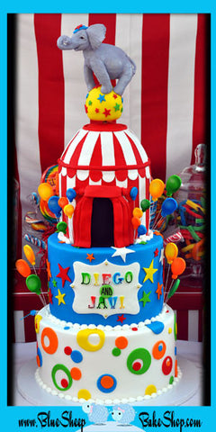 circus carnival 1st birthday cake in red white blue green orange custom cakes nj