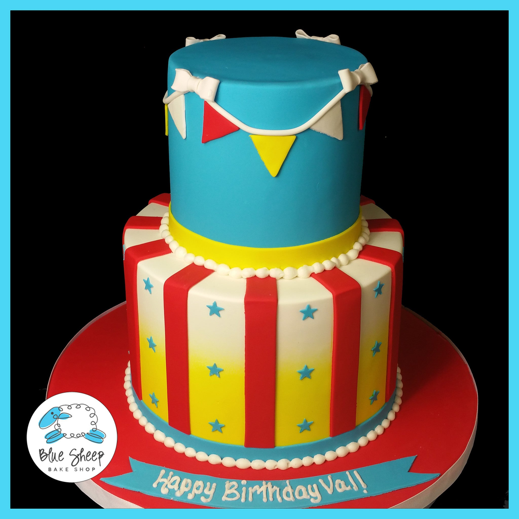 Cool Vals Circus Birthday Cake Blue Sheep Bake Shop Personalised Birthday Cards Veneteletsinfo
