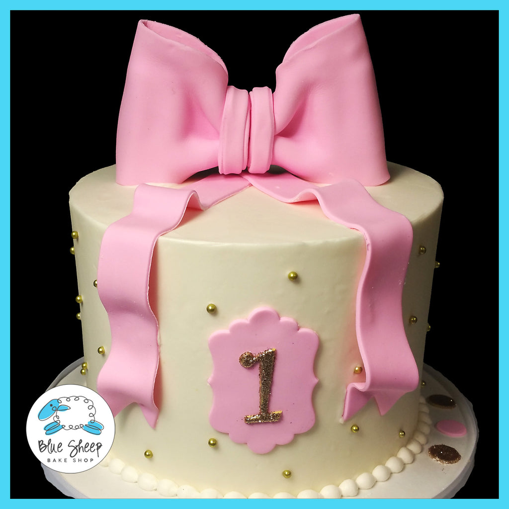 pink and gold classic buttercream 1st birthday cake nj