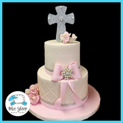 Ivory And Pink First Holy Communion Cake With Glitter