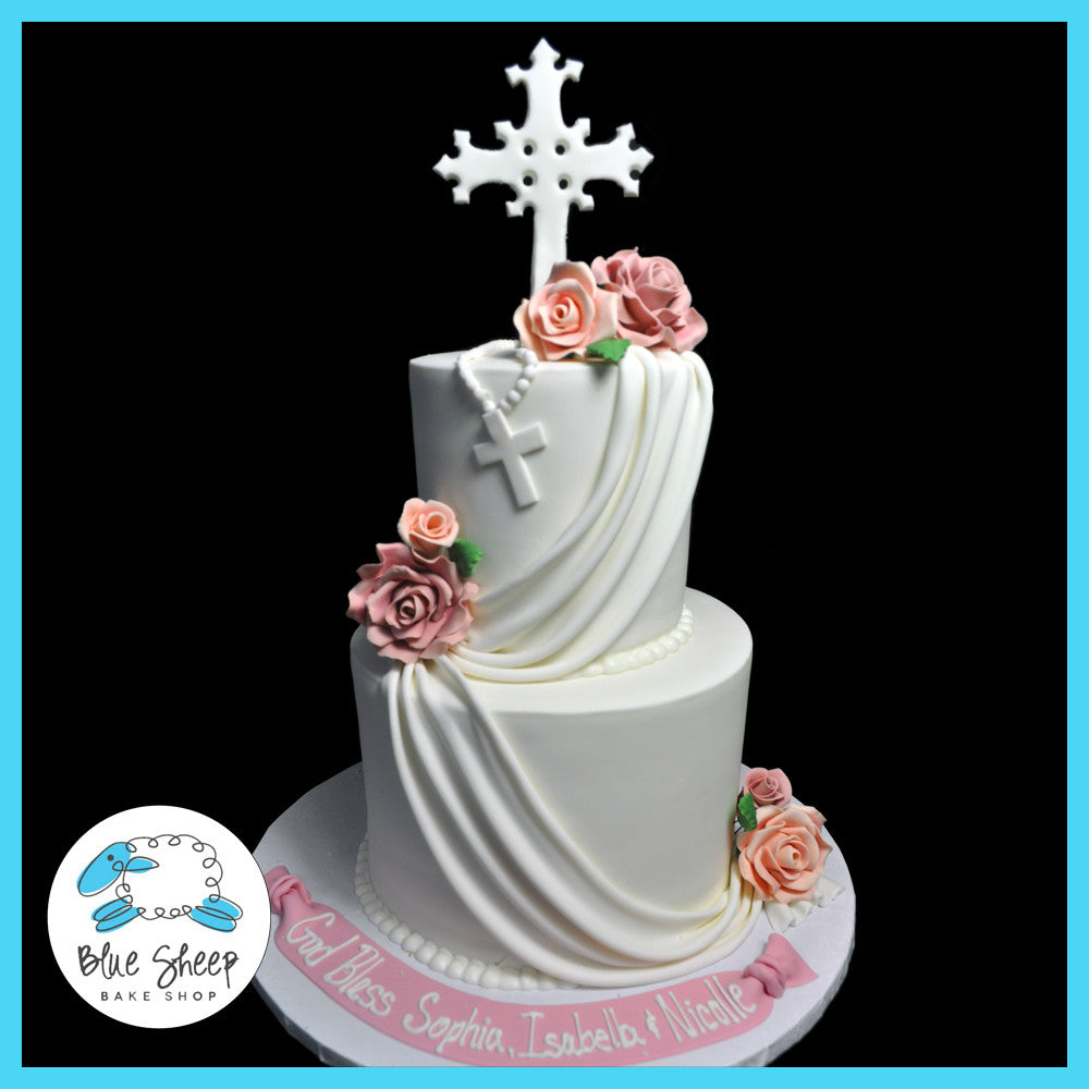 First Holy Communion Cake With Roses And Swags Blue