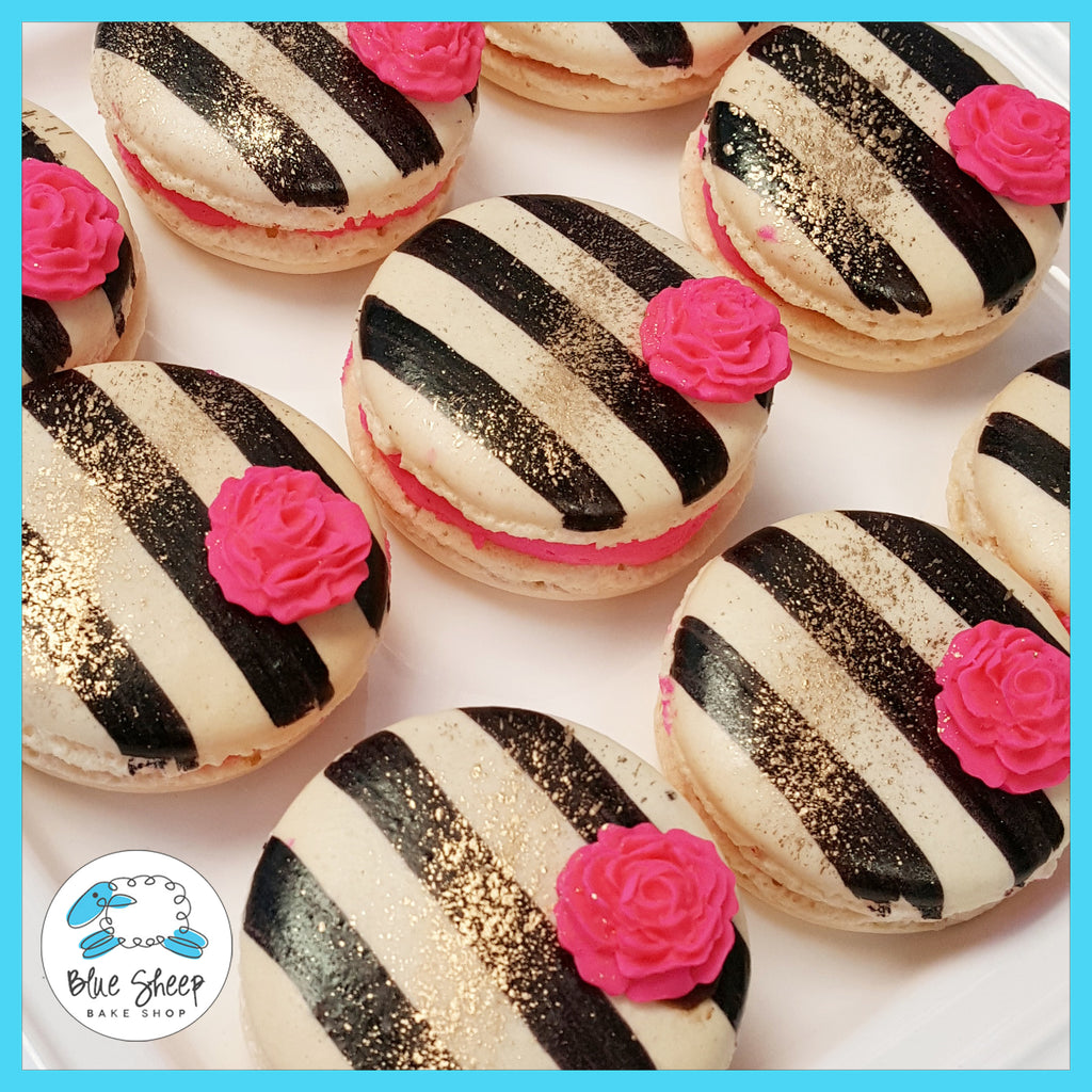 striped macarons with roses nj