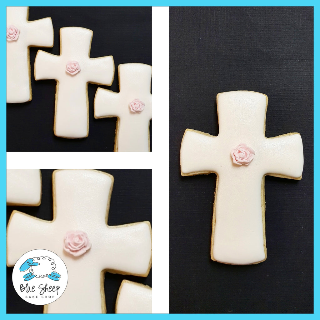 cross decorated sugar cookies confirmation communion nj