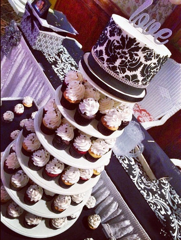 Damask Wedding Cupcake Tower