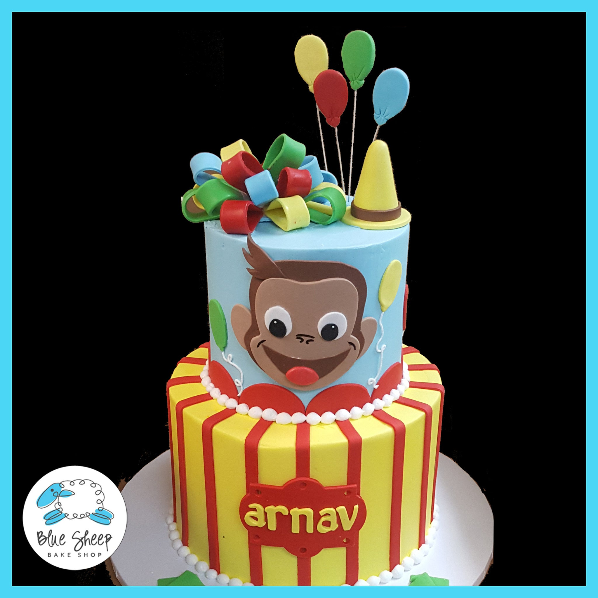 Phenomenal Curious George Birthday Cake Blue Sheep Bake Shop Funny Birthday Cards Online Sheoxdamsfinfo
