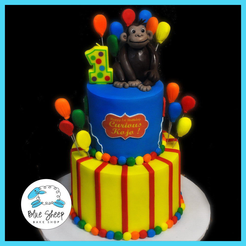 Super Curious George Birthday Cake Blue Sheep Bake Shop Funny Birthday Cards Online Sheoxdamsfinfo