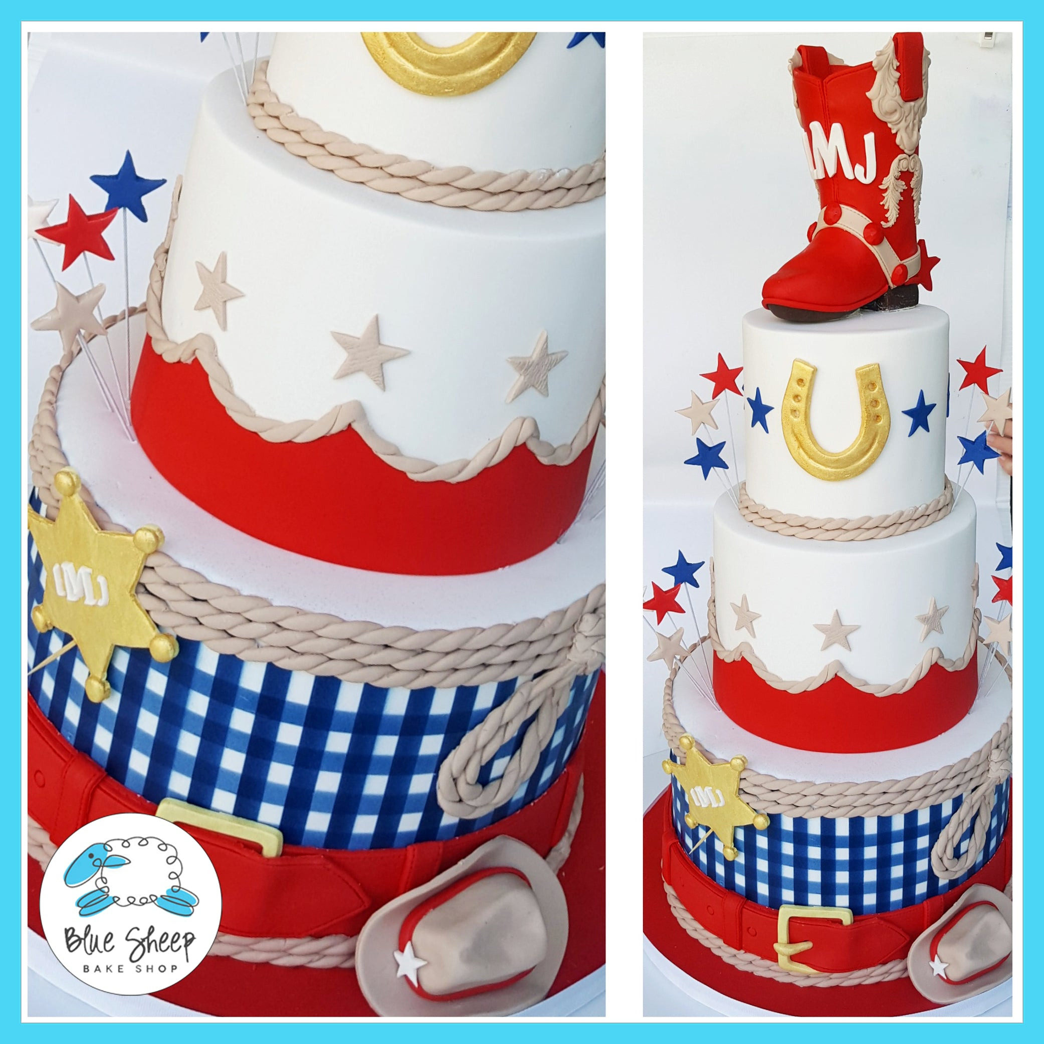 Gingham Cowgirl Birthday Cake