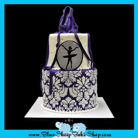 Damask Ballerina Birthday Cake