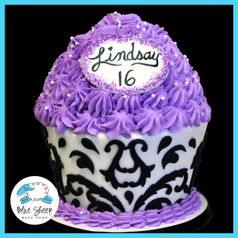 damask giant cupcake birthday cake sweet 16 cake