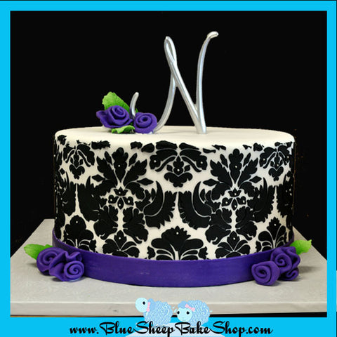 Damask Sweet 16 Birthday Cake