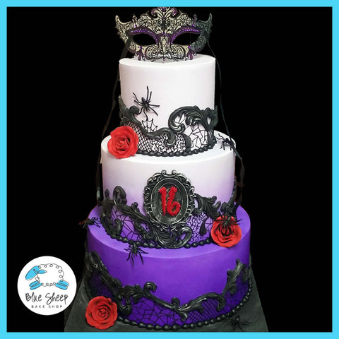 Dark Romance Lace Sweet 16 Cake