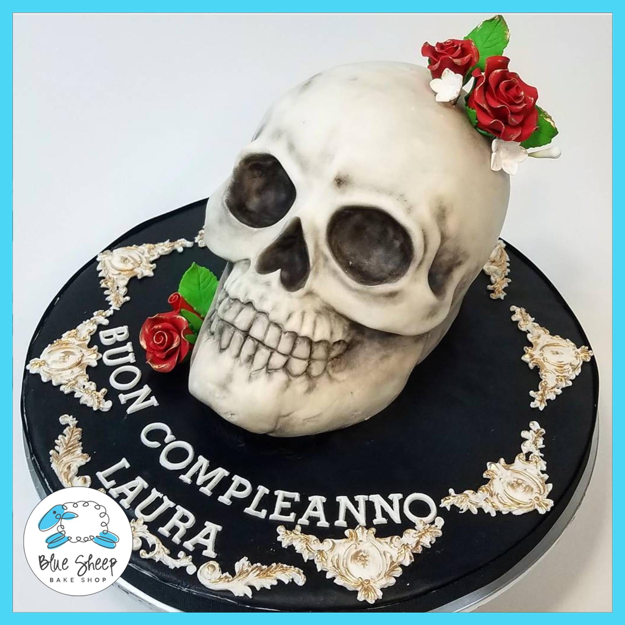 Lauras Day Of The Dead Birthday Cake Blue Sheep Bake Shop