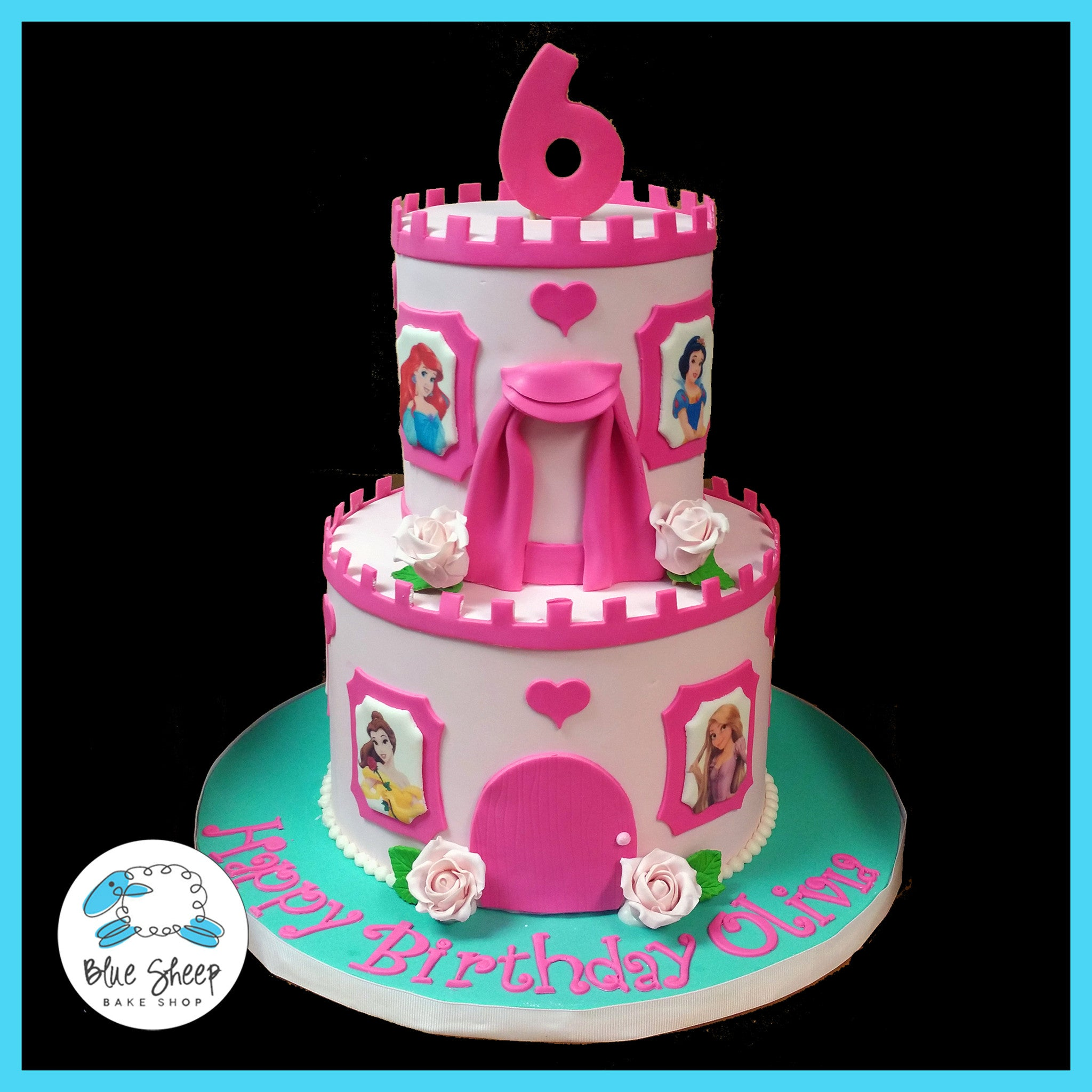 Pink Princess Birthday Cake Blue Sheep Bake Shop