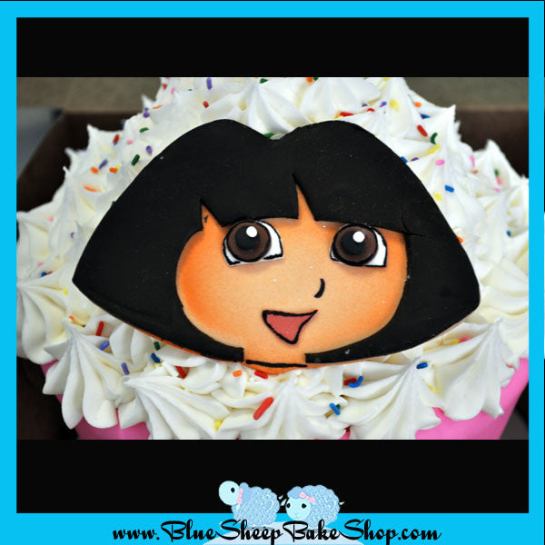 Peachy Dora Giant Cupcake Birthday Cake Custom Cakes Nj By Blue Sheep Funny Birthday Cards Online Alyptdamsfinfo