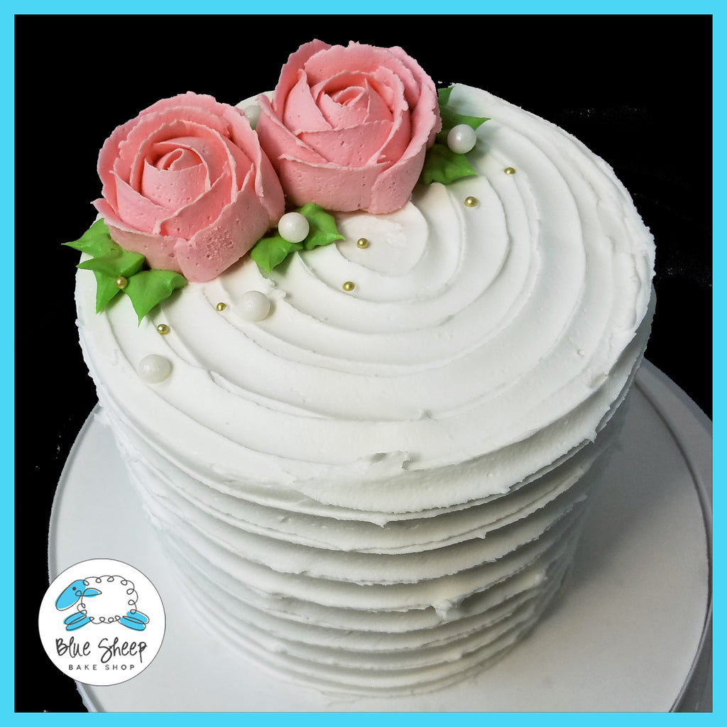 buttercream rose rustic swipe cake nj