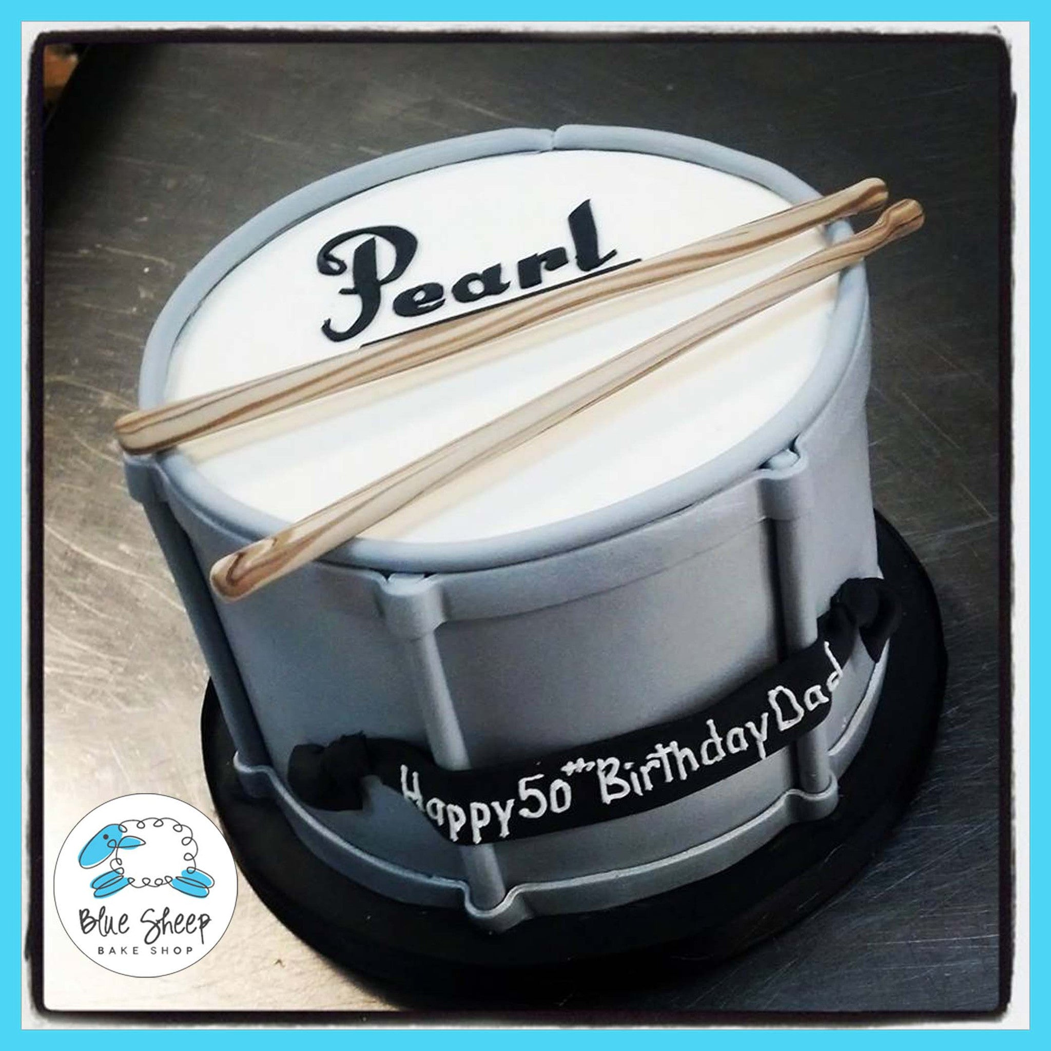 Magnificent Drum 50Th Birthday Cake Blue Sheep Bake Shop Personalised Birthday Cards Veneteletsinfo