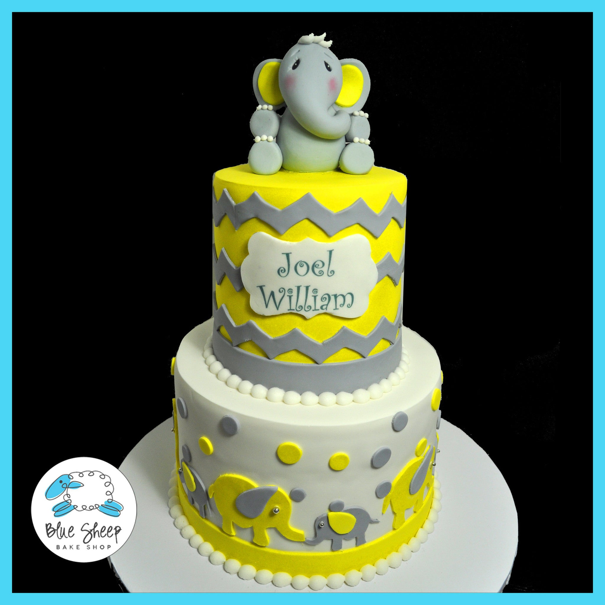 Yellow And Grey Elephant And Chevron Cake Blue Sheep Bake Shop