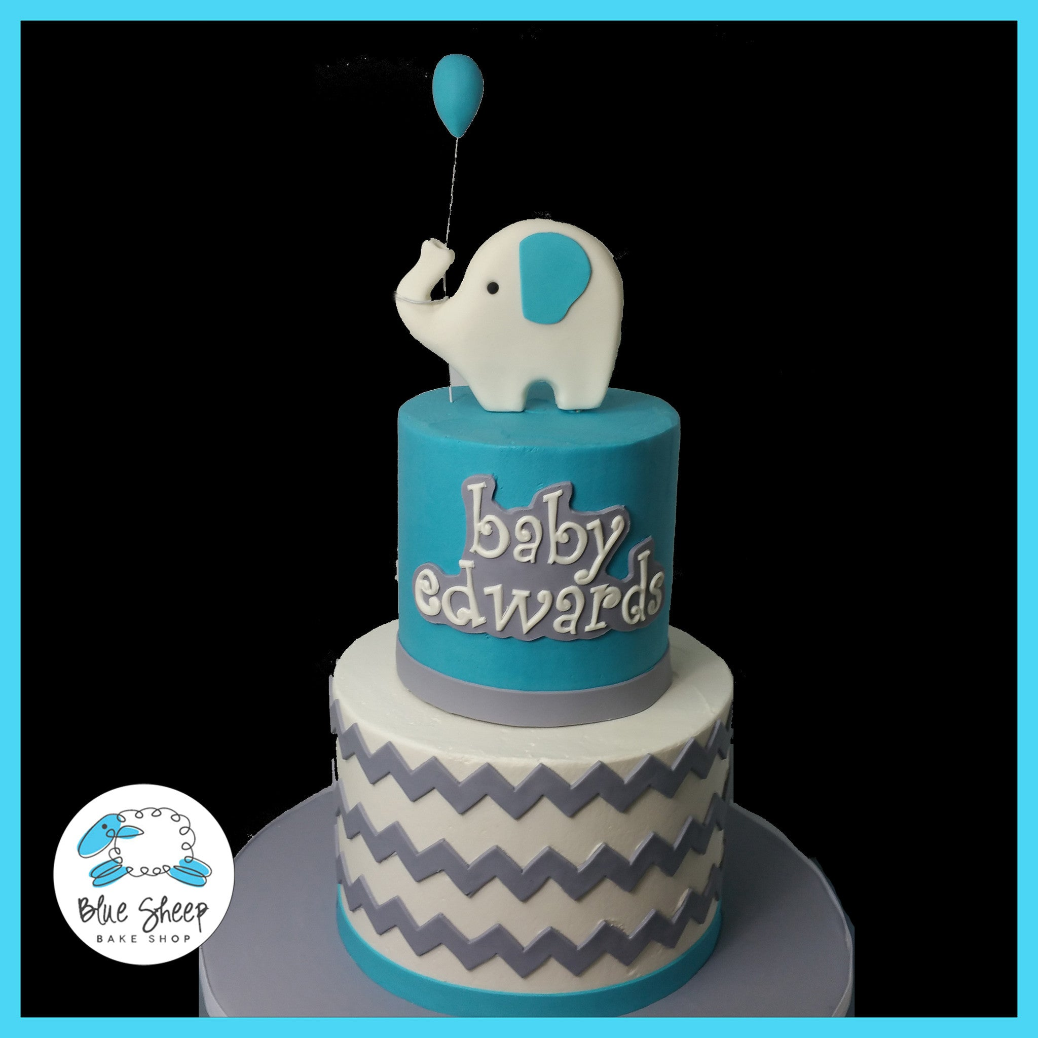 Elephant and Chevron Baby Shower Cake Blue Sheep Bake Shop